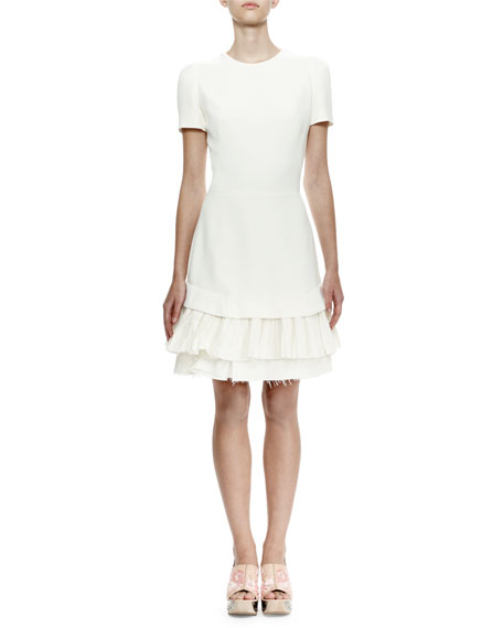 Short-Sleeve Raw-Edge Sheath Dress, Bone