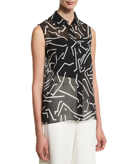 Graphite Sleeveless Button-Front Blouse, Black/White