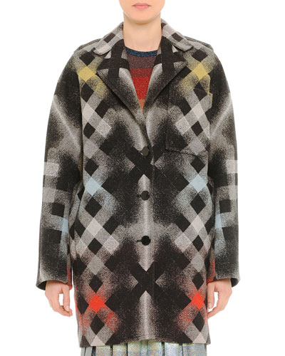 Printed Large-Check Coat