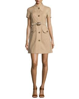 Short-Sleeve Button-Front Shirtdress, Dune