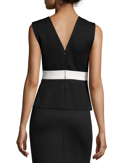 Sleeveless Jacket Top W/Obi Belt, Black/Bone