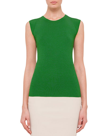 Sleeveless Round-Neck Top, Maples