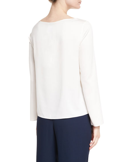 Long-Sleeve Matte-Silk Blouse, Cream