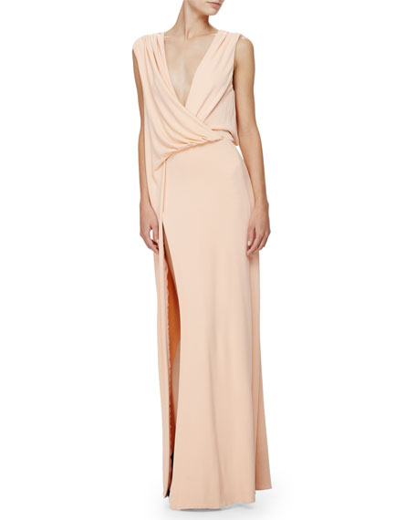 Sleeveless Grecian Column Gown, Peach