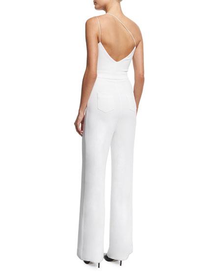 One-Shoulder Wide-Leg Jumpsuit, White