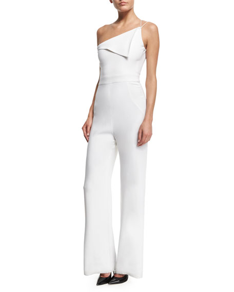 One-Shoulder Wide-Leg Jumpsuit, White