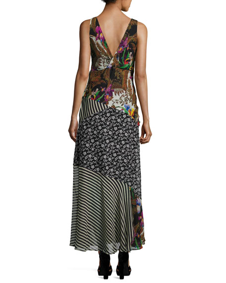 Patchwork Floral Silk Maxi Dress, Black