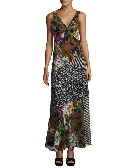 Patchwork Floral Silk Maxi Dress, Black