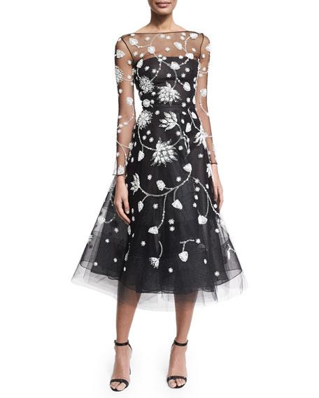 Oscar De La Renta Embroidered Illusion Tulle Midi Dress Blackwhite