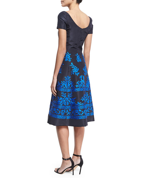 Short-Sleeve Embroidered Faille Cocktail Dress, Navy
