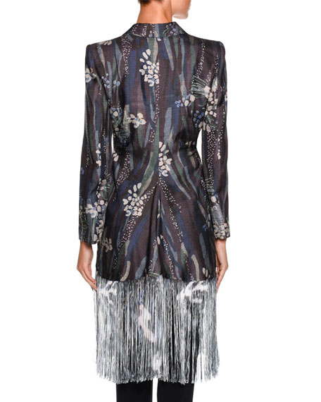 Floral Fringe Silk Jacket, Multi