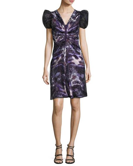 Printed Puff-Sleeve Dress, Multi