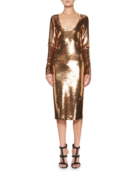 Sequined Long-Sleeve Scoop-Neck Dress, Brown