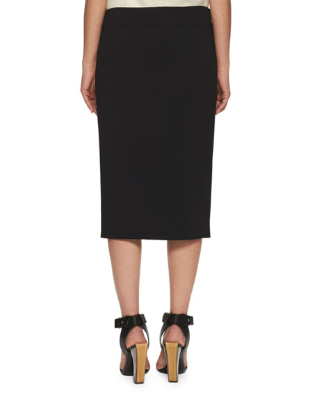 Stretch-Cady Pencil Skirt, Black