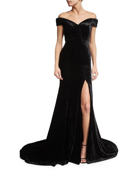 Rachel Gilbert Velvet Off Shoulder Gown Black