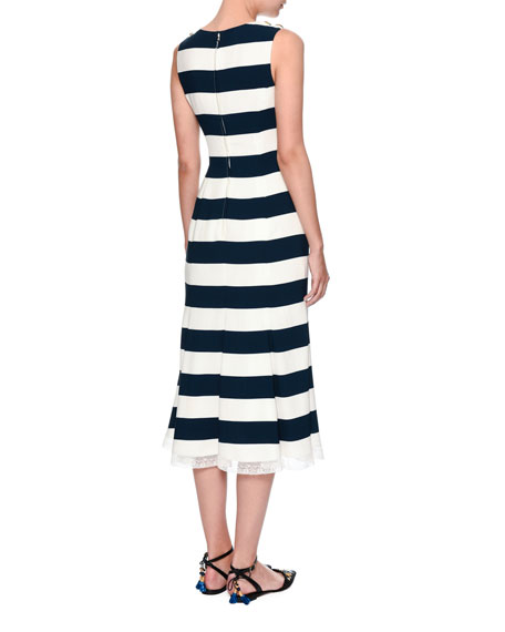 Cherry-Embroidered Striped Dress, Navy/White