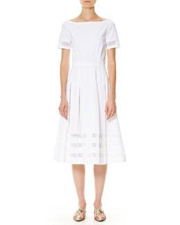 Illusion-Trim Short-Sleeve Midi Dress, White