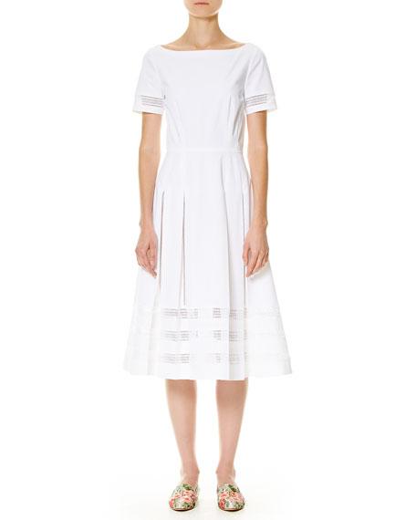 Carolina Herrera Illusion-Trim Short-Sleeve Midi Dress, White