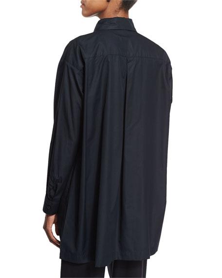 Long-Sleeve A-Line Poplin Blouse