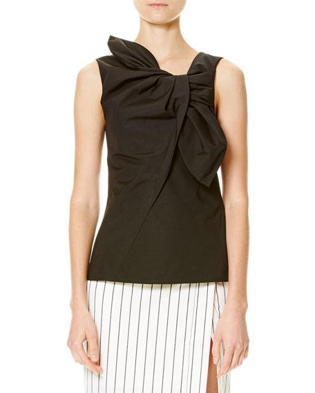 Sleeveless Cotton-Blend Bow Top, Black