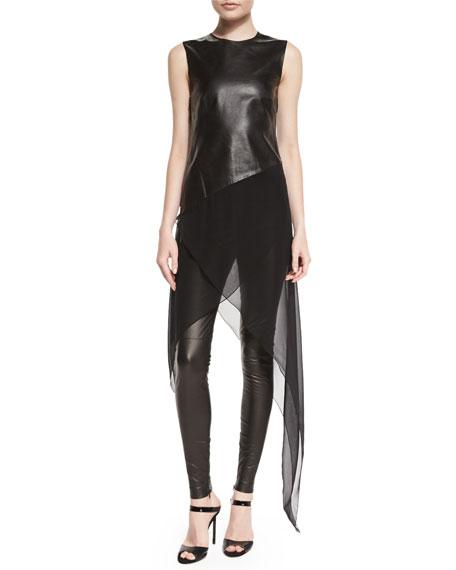 Eleanora Leather Leggings, Black