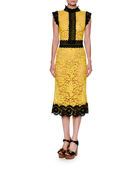1b5107c1 Dolce & Gabbana Two-Tone Floral Lace Cocktail Dress, Yellow/Black