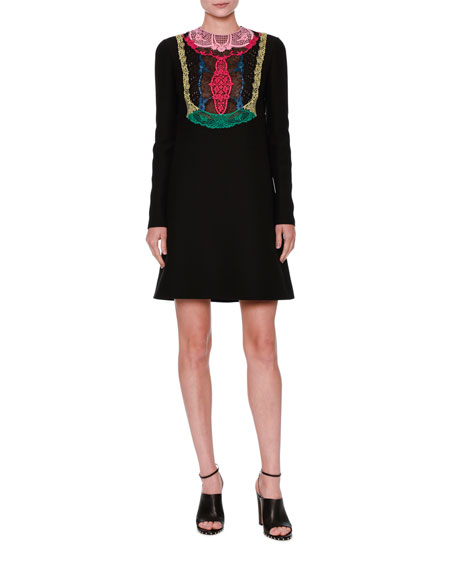 Long-Sleeve Lace-Bib Dress, Black/Multi