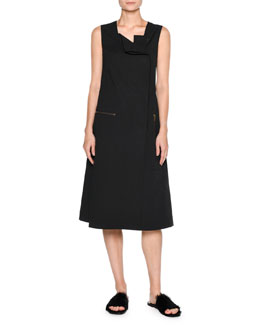 Sporty Poplin Midi Dress, Black