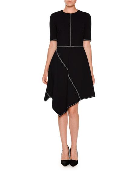 Asymmetric Topstitched Half-Sleeve Dress, Navy