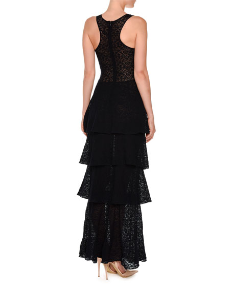 Sleeveless Stretch-Lace Tiered Gown, Ink