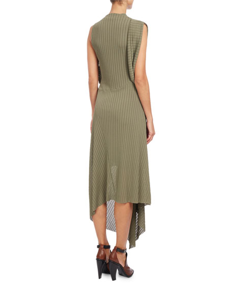 Draped Cowl-Neck Midi Dress, Sage