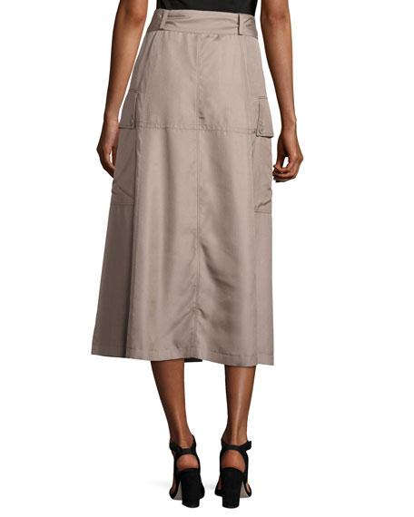 Silk Button-Front Midi Skirt