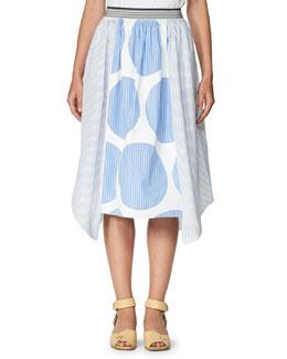 Stripe & Circle-Print Poplin Skirt, Blue/White