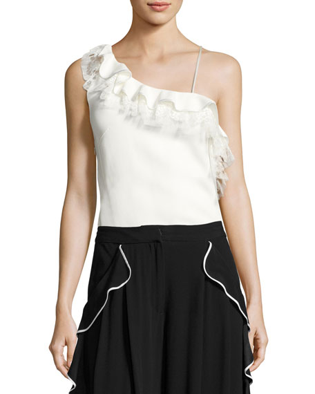 Strappy Ruffled Lace-Trim Top, White