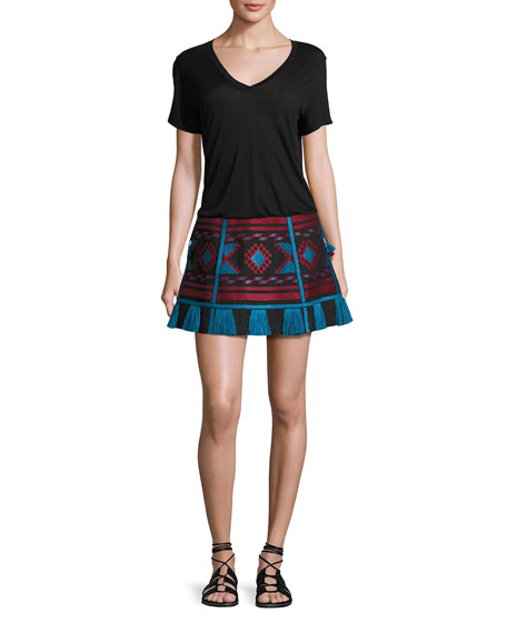 Embroidered Linen A-Line Mini Skirt, Black/Red