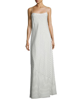 Streb Bias-Striped Maxi Dress, White Pattern