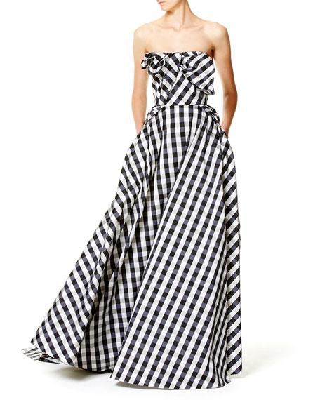 Strapless Gingham Ball Gown, Black/White