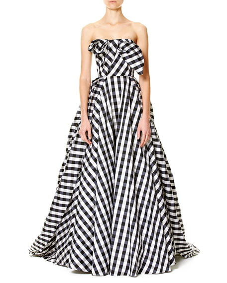 Strapless Gingham Ball Gown, Black/White
