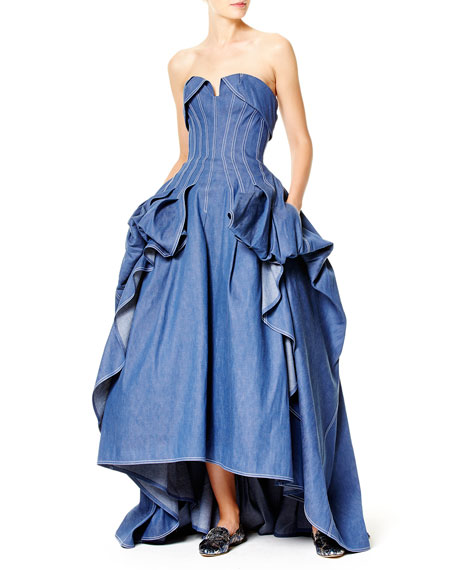 Strapless Denim Ball Gown, Blue