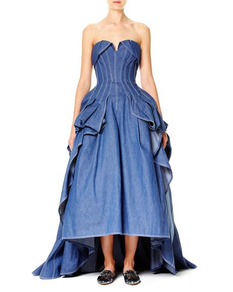 Carolina Herrera Strapless Denim Ball Gown Blue