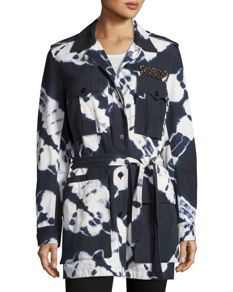 Tie-Dye Safari Jacket, Navy