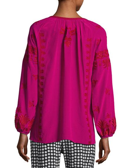 Serena Embroidered Tassel-Tie Top, Pink