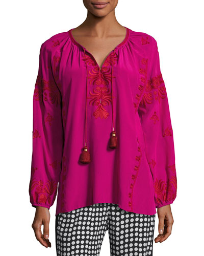 Serena Embroidered Tassel-Tie Top, Pink