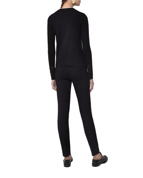 Knit Pullover w/Lace Cuffs, Black