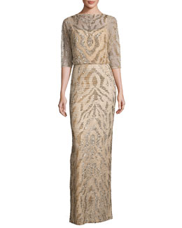 Beaded Half-Sleeve Capelet Gown, Gold