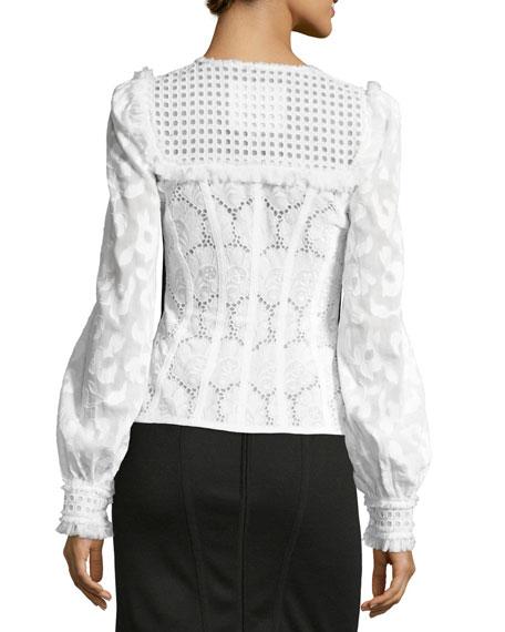 Zip-Front Lace Eyelet Jacket, White