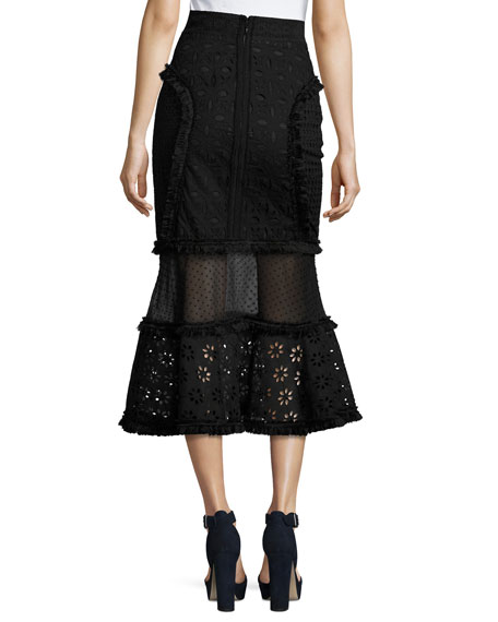 Eyelet Mixed-Lace Mermaid Midi Skirt, Black