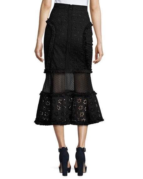 Eyelet Mixed-Lace Mermaid Midi Skirt, Black