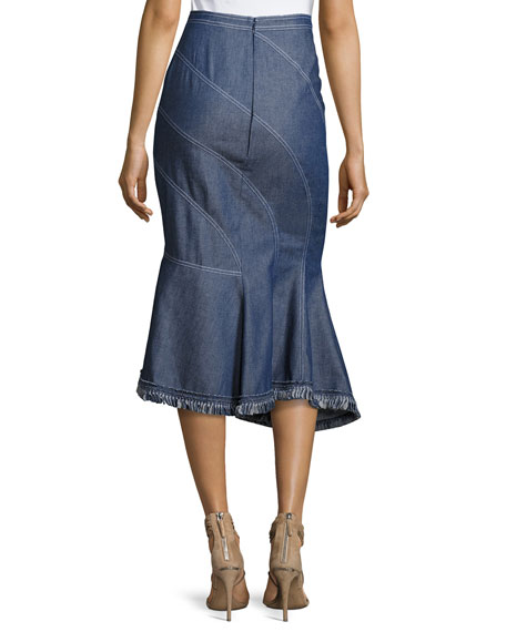 Asymmetric Denim Midi Skirt, Blue