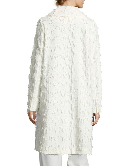 Flocked One-Button Coat, Ivory